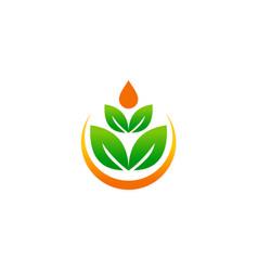green leaf beauty meditation logo vector image vector image