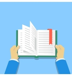 Hands holding a book people reading books vector