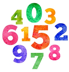 set of watercolor colorful numbers vector image vector image