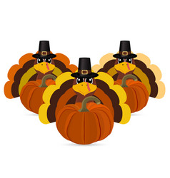 turkeys cartoon with pumpkins vector image vector image