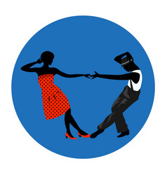 couple man and woman dancing vintage dance black vector image