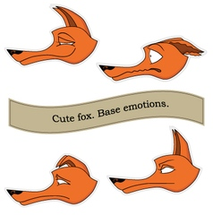 Cute fox emotions sticker pack Base emotions set vector image vector image