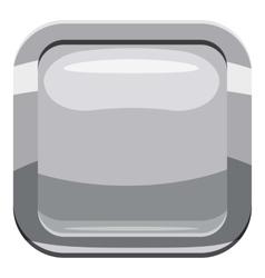 Gray square button icon cartoon style vector image