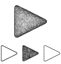Play icon set - sketch line art vector