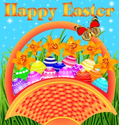 postcard with Easter eggs vector image vector image