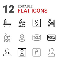 12 restroom icons vector