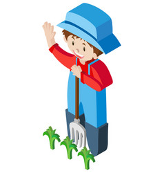 3d design for farmer and crops vector