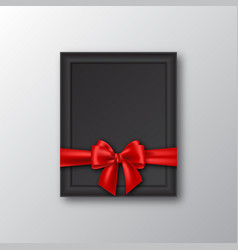 3d realistic picture frame with red bow vector image