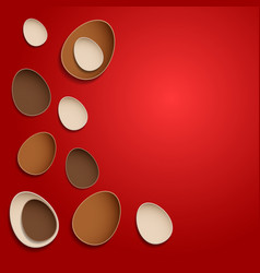 abstract chocolate easter eggs on red background vector image