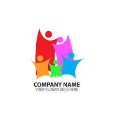 Abstract Colorful Happy Family Logo Icon vector image