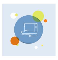 Audio card external interface sound white line vector