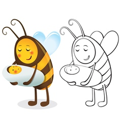 Bee mother and child vector image