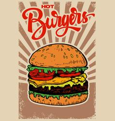 Best burgers hamburger on grunge background vector