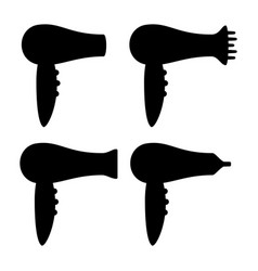 Black and white hairdryer silhouette set vector