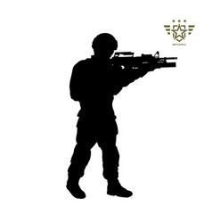 Black silhouette of standing american soldier vector