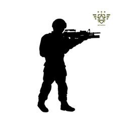 Black silhouette standing american soldier vector