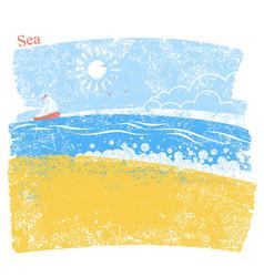 Blue seascape with beach and sky vector