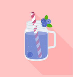 blueberry smoothie in mason jar vector image
