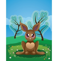 Brown Rabbit on Lawn2 vector image