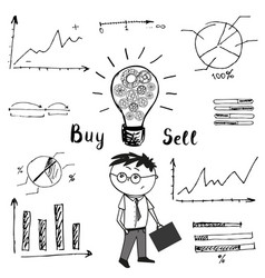 businessman and graphs and charts the idea of the vector image