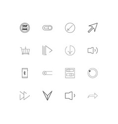 buttons simple linear icons set outlined icons vector image