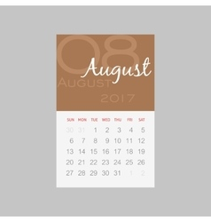 Calendar 2017 months August Week starts Sunday vector image
