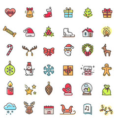 Christmas theme colorful icons vector