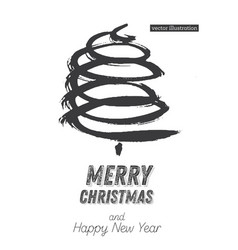 christmas tree sketch isolated on white vector image