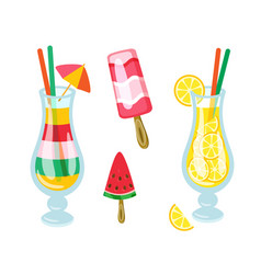 Cocktails drinks and beverages ice cream fruits vector