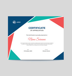 colored red and blue geometric shapes certificate vector image