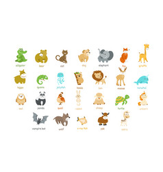 cute animal icons set vector image