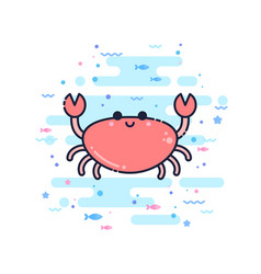 cute cartoon crab character vector image