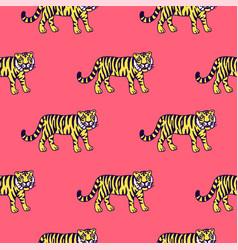 Cute tiger cartoon roaring vector