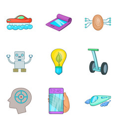 Cyborg icons set cartoon style vector