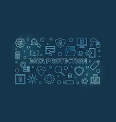 data protection blue line horizontal vector image