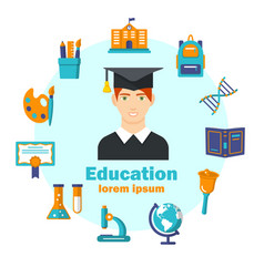 education flat poster with colorful icons vector image