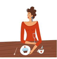 elegant woman in red dress sitting at table vector image