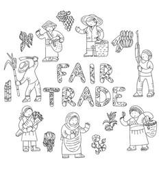 Fair trade doodles vector
