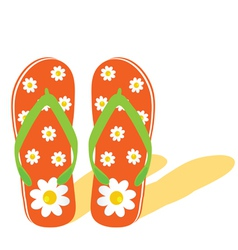 flip flop for beach with flower vector image
