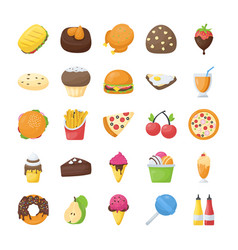 Food and drinks flat icons set vector
