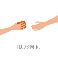 Food sharing donating hunger poverty concept hand vector