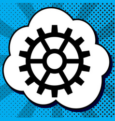 gear sign black icon in bubble on blue vector image