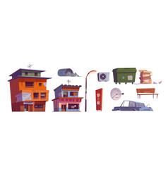 Ghetto buildings litter bin car bar signboard vector