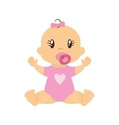 Girl baby cute little childhood icon vector