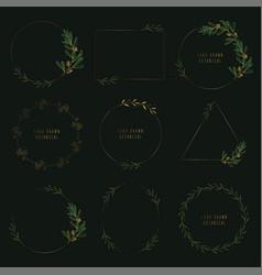 gold botanical drawn wreath and frame set vector image