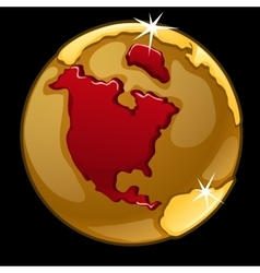 Golden globe with marked north america vector