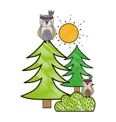 grated ethnic owls animals with pine trees and vector image
