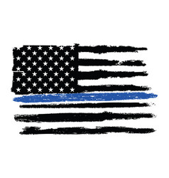 grunge police flag thin blue line vector image