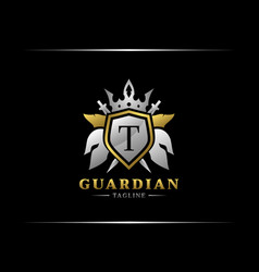 Guardian shield with t letter abstract spartan vector