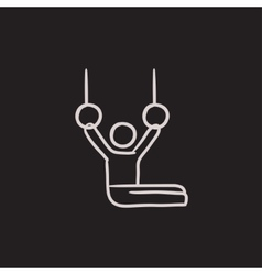 Gymnast on stationary rings sketch icon vector image